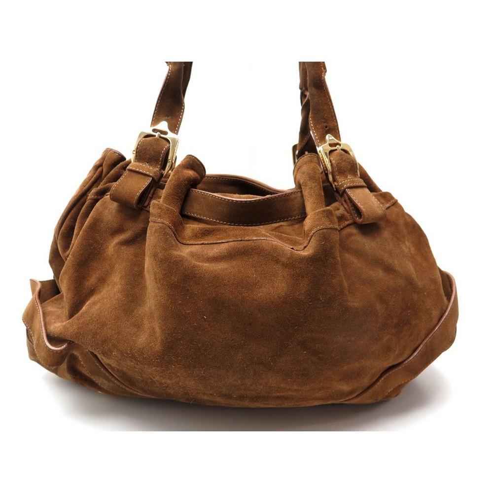 sac a main burberry daim marron hand bag deer suede