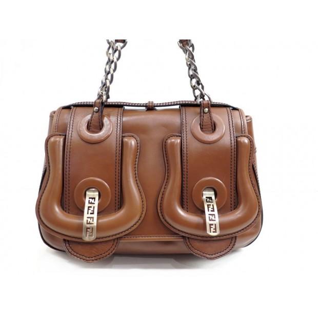 SAC A MAIN FENDI B-BAG 8BN165 EN CUIR MARRON PORTE EPAULE HAND BAG PURSE 1600€