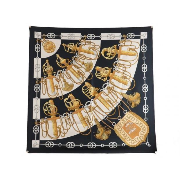 foulard hermes cliquetis en soie noire carre 90 cm a56cb3fe4a2