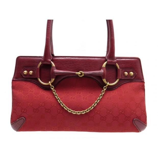 acheter populaire 057ae 212a8 sac a main gucci mors 114913 en toile cuir rouge