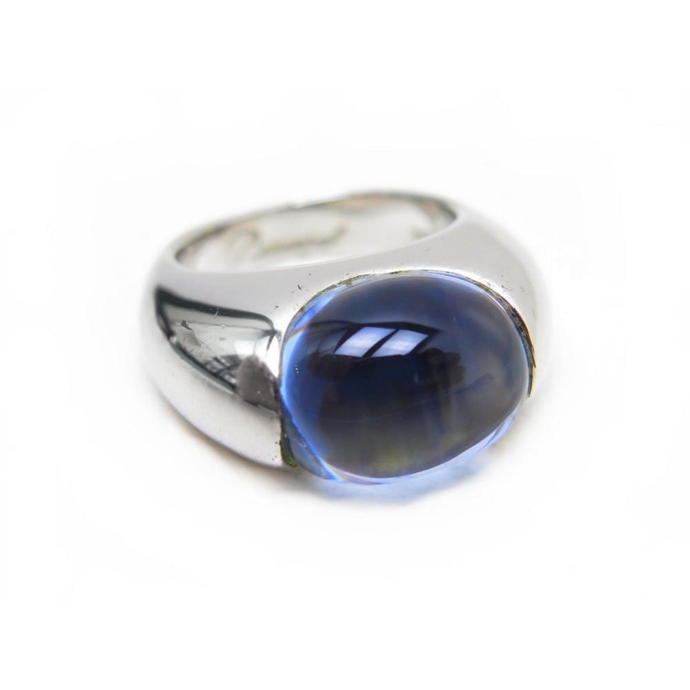 bague baccarat 53 en cristal de roche bleu argent