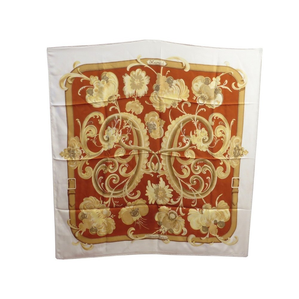 bon marché livraison gratuite meilleure collection foulard hermes harald en soie orange blanc