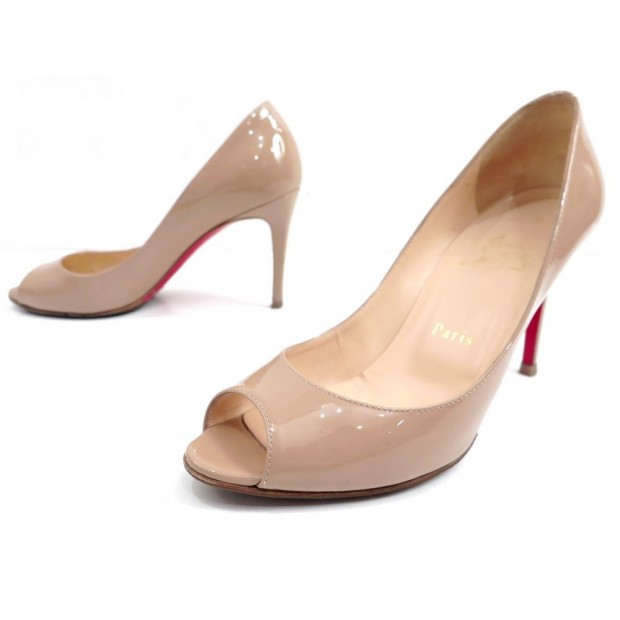 CHAUSSURES CHRISTIAN LOUBOUTIN YOU YOU 85 ESCARPINS 38 CUIR BEIGE SHOES 515€