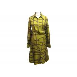 ROBE MI LONGUE HERMES FOULARD BOLDUC 36 S EN SOIE VERT GREEN SILK DRESS 4200€