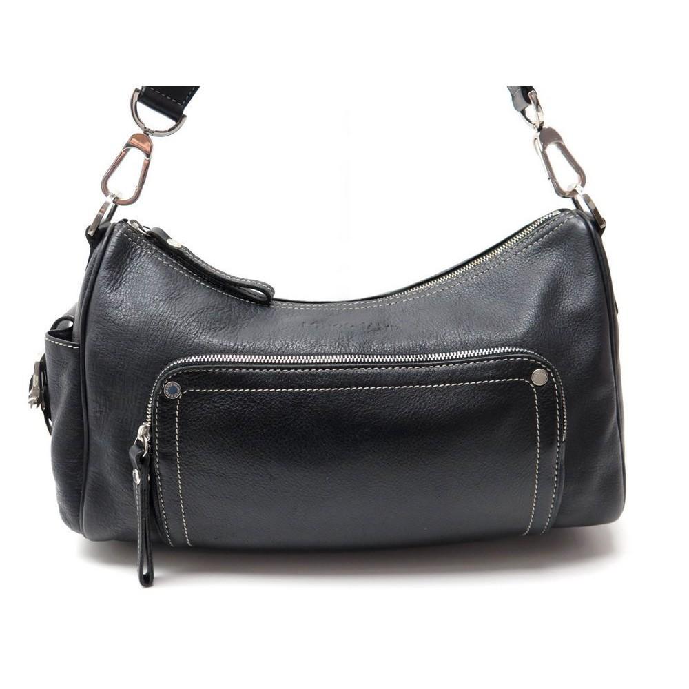 sac a main longchamp en cuir noir porte epaule leather