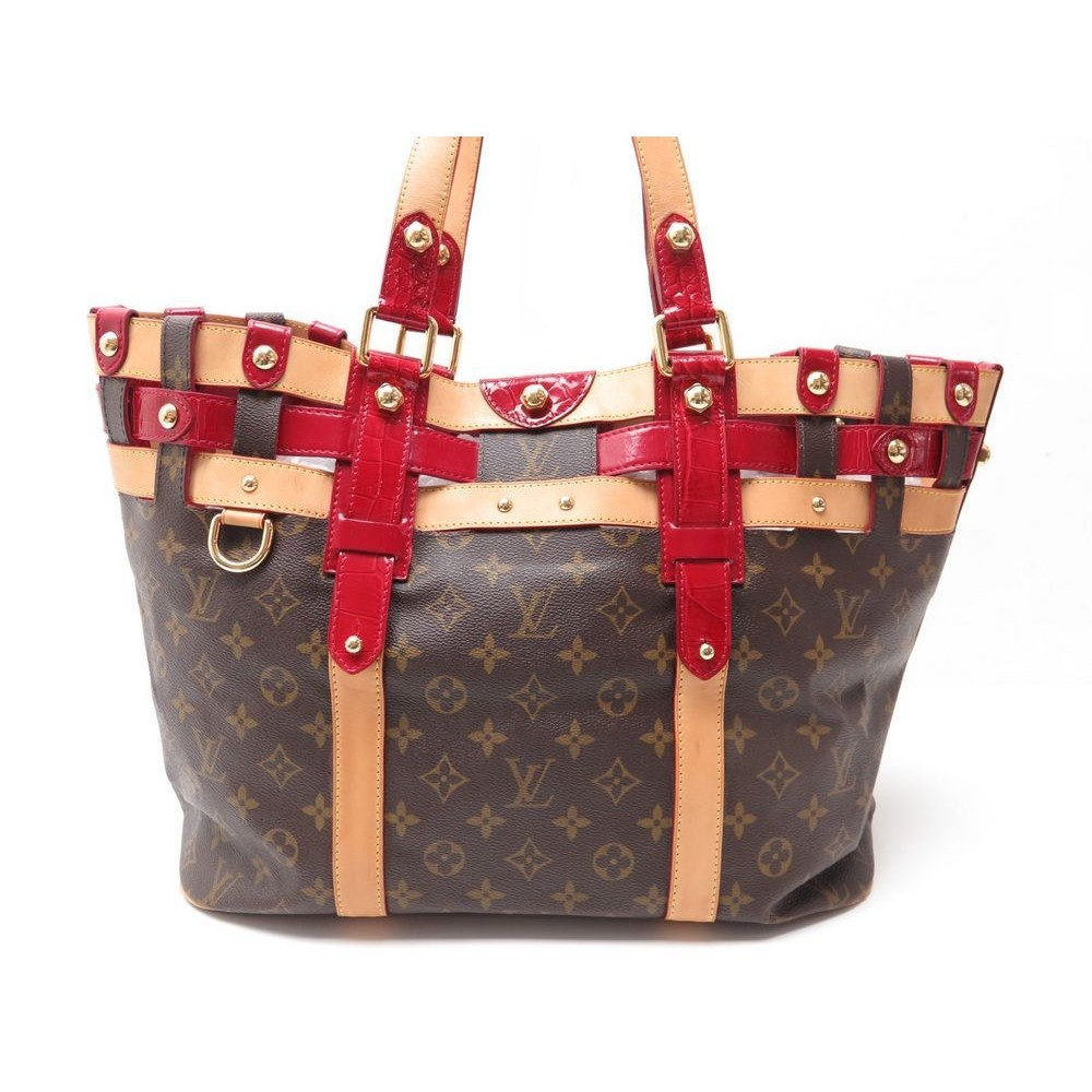5b2c859a1d1e SAC A MAIN LOUIS VUITTON RUBIS SALINA GM 2008 EN TOILE   CROCO PURSE RARE  2490. Loading zoom