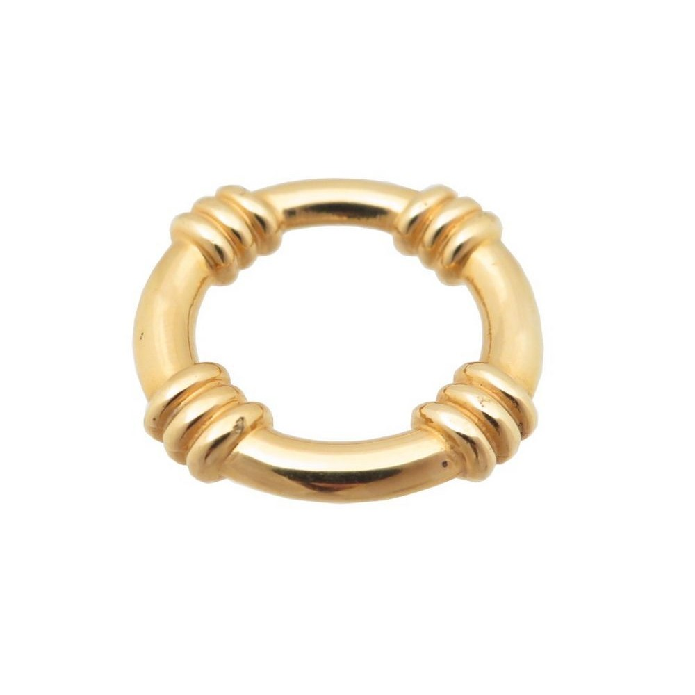 42578b371d5 anneau de foulard carre hermes en metal dore bague t