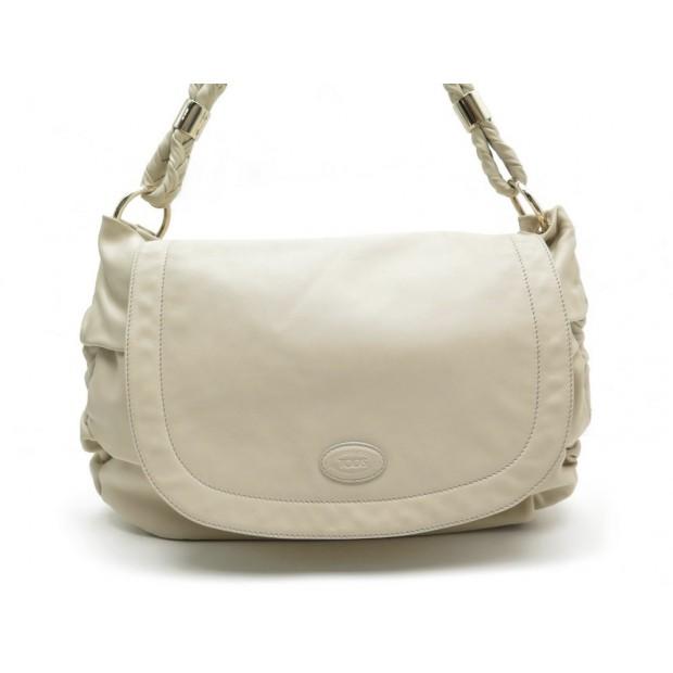 prix le plus bas 57151 be61b sac a main tod's en cuir beige pochon hand bag white