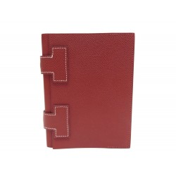 NEUF CAHIER HERMES DOUBLE H COUVERTURE EN CUIR EPSOM ROUGE SIENNE BLOC NOTE BOOK