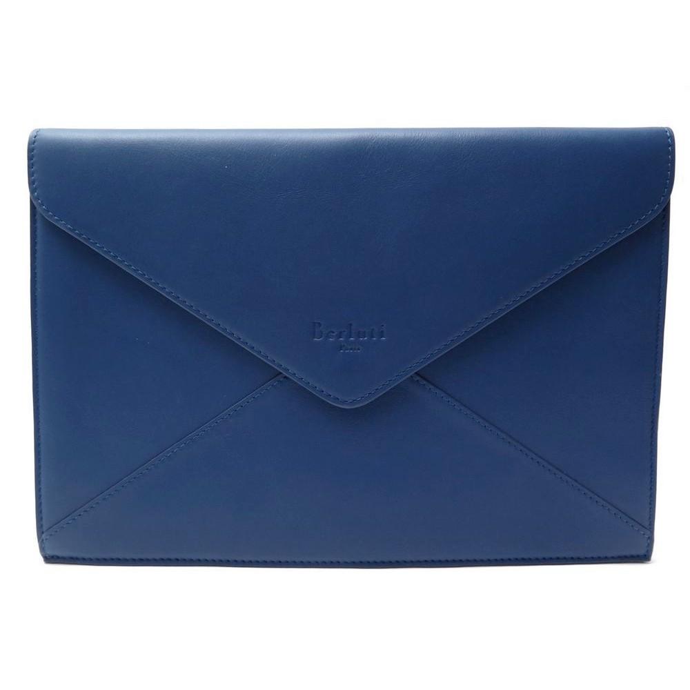 Enveloppe Main Berluti A Bleu En Cuir Pochette USqtxwx