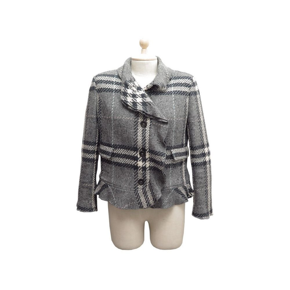 Burberry Eb Manteau 40 Tartan Tweed Gris Check M Veste ZadnZB