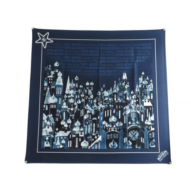 foulard chanel paris moscou soie bleue carre 90 ff57a1c9f7e