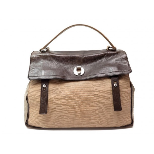 NEUF SAC A MAIN YVES SAINT LAURENT MUSE TWO GM PATCHWORK FACON LEZARD