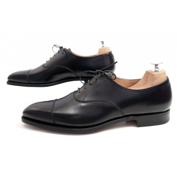 NEUF CHAUSSURES CROCKETT & JONES HALLAM RICHELIEU 9E 43 CUIR NOIR SHOES 495€