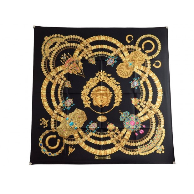 b451087c2d81 foulard hermes kosmima en soie noire carre 90 cm