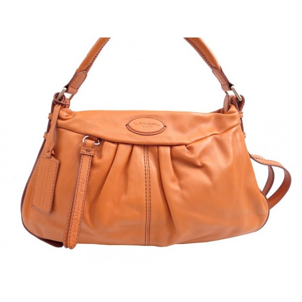 NEUF SAC A MAIN LANCEL PORTE EPAULE EN CUIR ORANGE LEATHER HAND BAG PURSE 500€