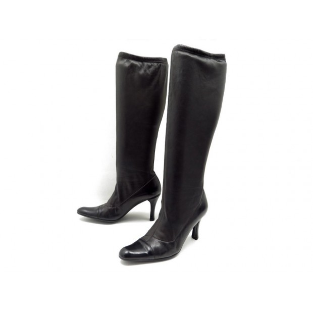 CHAUSSURES CHANEL BOTTES 36.5 CUIR NOIR ET MARRON BOOTS LEATHER SHOES 1200€