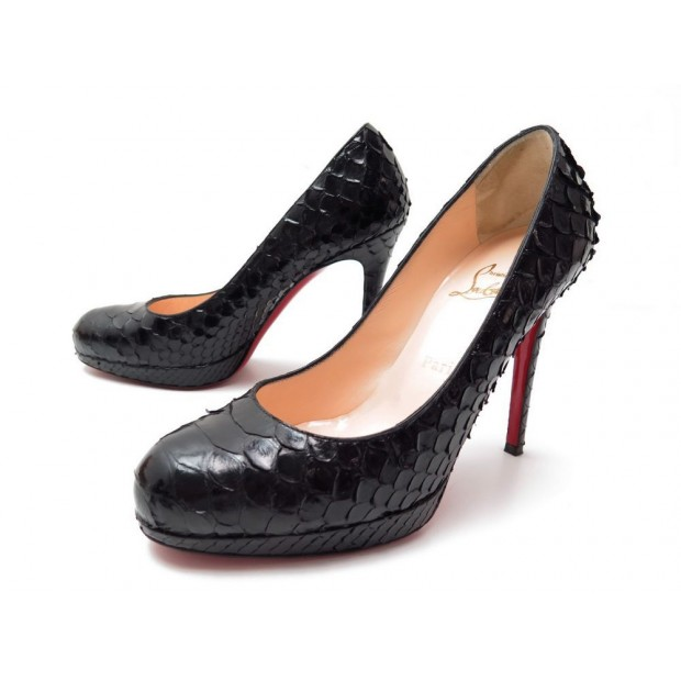 977bf65d904 CHAUSSURES CHRISTIAN LOUBOUTIN NEW SIMPLE PUMP 120 37 PYTHON CRYSTAL NOIR