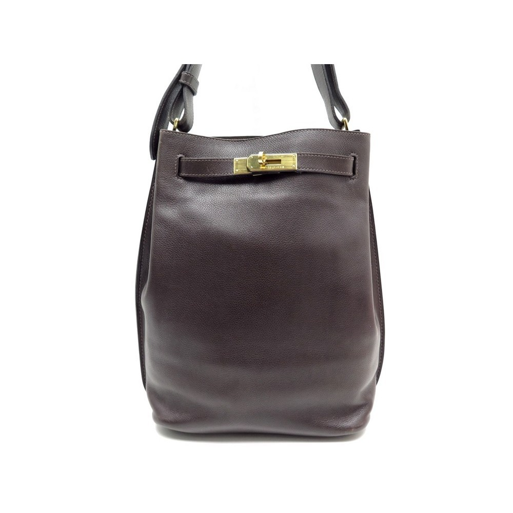 18ea1b369d SAC A MAIN HERMES SO KELLY EN CUIR MARRON & DORE. Loading zoom