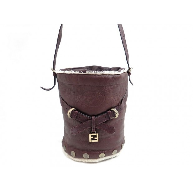 SAC A MAIN FENDI 8BT094 SEAU EN CUIR MARRON MOUTON RETOURNE HAND BAG PURSE 1100€